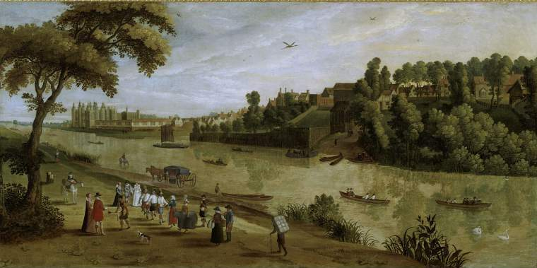 Early 17th century painting of The Thames at Richmond showing Morris in about